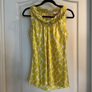 Banana Republic chartreuse and white silk blouse